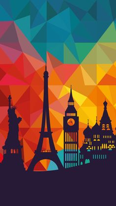 ↑↑TAP AND GET THE FREE APP! Art Creative Multicolor City Paris London New York Travel HD iPhone 6 Plus Wallpape