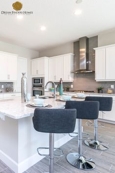 We love these bar stools in this custom kitchen in our Oakland Park model in Kitchen Decor, Kitchen Design, Oakland Park, New Home Construction, Custom Kitchens, Interior Decorating, Interior Design, Home Trends, New Home Designs