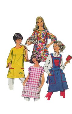 Simplicity 5377 1970s  Misses Smock  Cobbler Apron, Bib Apron  Apple Pot Holder womens vintage sewing pattern  by mbchills