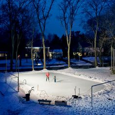 (How to Build a Backyard Ice Skating Rink.) My wonderful dad used to do this every winter! He went out there every night in the FREEZING cold and watered the rink. I don't know how he could bear it! But I have such wonderful memories of having our own rink. Thanks dad!!!