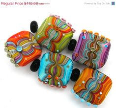 ON SALE Handmade Lampwork 5 bead set Turquoise Orange by MichalS, $99.00