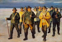 Michael Ancher painting of fishermen. Notice the seaboots.