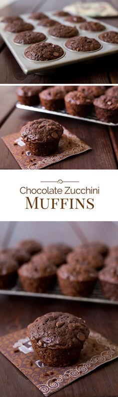 Chocolate Zucchini Muffins made with whole wheat pastry flour and agave instead of sugar. A delicious way to start or end the day.