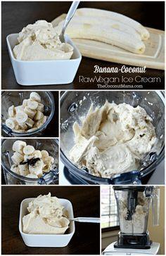 Banana-Coconut Raw Vegan Ice Cream made in the Vitamix