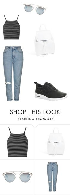 """STREET STYLE : Sportswear Outfit 〰"" by charlotte-horan on Polyvore featuring mode, Topshop, Mansur Gavriel, Christian Dior et NIKE"