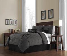 Amazon.com: Victoria Classics Ellington 7-Piece Comforter Set, Queen, Charcoal: Bedding & Bath