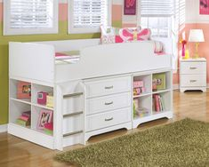 Lulu - Twin Loft Bed with 6 Drawer Storage by Signature Design by Ashley. Get your Lulu - Twin Loft Bed with 6 Drawer Storage at Clayton Furniture Inc., Concord CA furniture store. Bed Storage, Bedroom Storage, Storage Drawers, Bunk Bed Designs, Kids Bunk Beds, Lofted Beds, Bed With Drawers, Loft Spaces, Leather Furniture