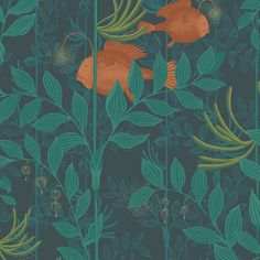 Create a unique setting with this Nautilus wallpaper from Cole & Son. Part of the Whimsical collection it features detailed anglerfish swimming through foliage. This wallpaper is spongeable; to clean