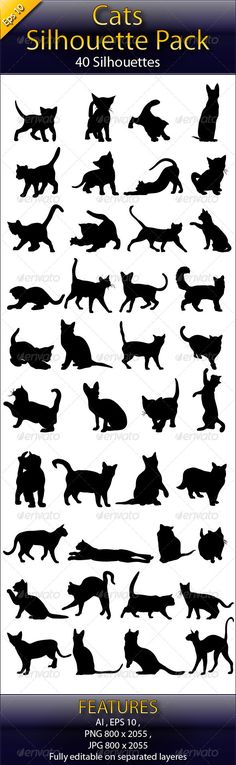 Cats Silhouette Big Pack  - Animals Characters