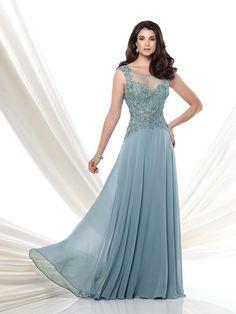A-Line/Princess Scoop Sleeveless Applique Floor-Length Chiffon Mother of the Bride Dresses