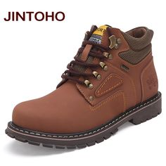 JINTOHO Big Size Men Ankle Boots High Quality Genuine Leather Men Work&Safety Boots Winter Shoes Rubber Boots For Men Work Shoes #>=#>=#>=#>=#> Click on the pin to check out discount price, color, size, shipping, etc. Save and like it!