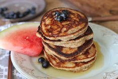 Paleo Pancakes | Uses 2 cups almond flour, 2 tsp potato starch (sub arrowroot) & 2 eggs.