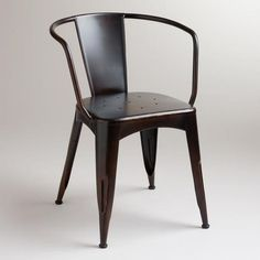 $109.99 One of my favorite discoveries at WorldMarket.com: Dark Distressed Jackson Metal Tub Chair