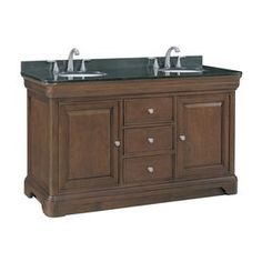 $898 allen + roth 60-1/2-in Rich Cherry Fenella Double Sink Bathroom Vanity with Top