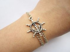 Bracelet---antique silver rudder with anchor chain