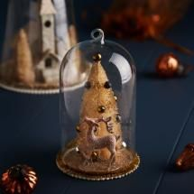 Gold Tree Glass Dome Christmas Decoration