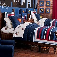 Cute Shared Boys Room   Bedding From Pottery Barn. Love The Simple Striped  Bedspread With Superhero Sheets