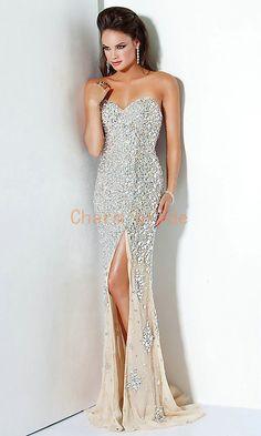 cream slim rhinestone prom dresses sweetheart gorgeous evening dress unique long party dress on Etsy, $285.00