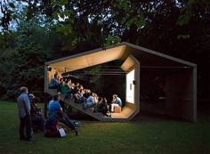 The People's Cinema, Pavillon, Design © Erika Hock Outdoor Stage, Outdoor Cinema, Outdoor Theater, Outdoor Office, Urban Landscape, Landscape Design, Landscape Fabric, Garden Design, Landscape Architecture