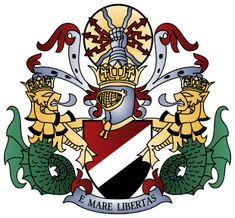 Sealand Coat of Arms (motto=From the Sea, Freedom). Tiny micro-nation built on an old UK WWII sea fort. Originally was in int'l waters, but now in UK's. Rest of the world hasn't acknowledged them as legit country, although it has been claimed otherwise (UK, in the case of the old territorial waters, and Germany).