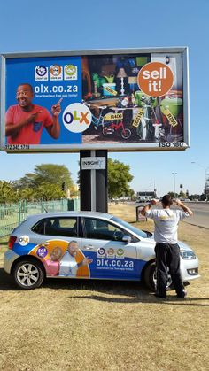 OLX branded car, OLX billboard and Marco, one of our OLX brand ambassadors.