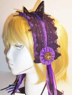 Lolita Maid Lace Kitty Ears Headband in Purple and Black with Ribbons and Rosettes (A) Kitty Ears, Headbands by CosplayMommas on Etsy