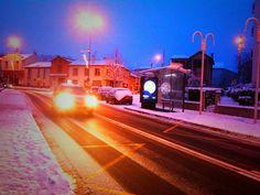 Photo de nuit sous la neige cet hiver