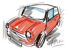Mini Cooper Drawing - Mini Cooper Sketch by Neil Duffy