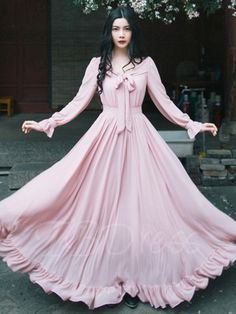 Pink Tie Neck Long Sleeve Women's Maxi Dress - m.tbdress.com
