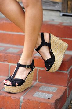 RESTOCK Little Bow Peep Wedges: Black | Hope's #Wedges #2dayslook #Wedgesfashion www.2dayslook.com