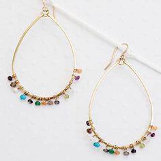 Sonjarenee Lotus Teardrop Earrings with Semi Precious Beads