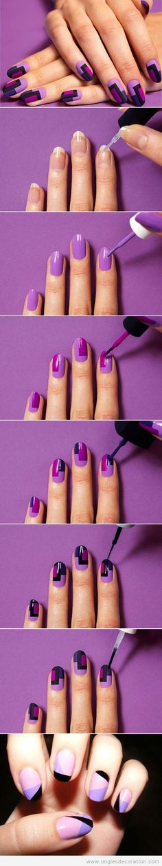 Quick Nail Art Ideas - DIY Colorful Fashion Nails - Easy Step by Step Nail Designs With Tutorials and Instructions - Simple Photos Show You How To Get A Perfect Manicure at Home - Cool Beauty Tips and Tricks for Women and Teens Nail Art Stripes, Striped Nails, Blue Nail, Fall Nail Art Designs, Cute Nail Designs, Easy Nails, Cute Nails, Simple Nails, 3d Nails