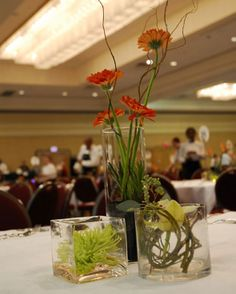 Green #fuji #mums, orange #gerbera #daisies, and yellow #cymbidium #orchids. #JPParkerFlowers #FlowerPower http://www.jpparkerco.com/gallery/special-events/