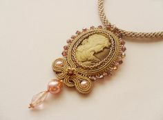 Soutache Pendant Necklace in Gold and Beige by AgatesDesign, $72.00
