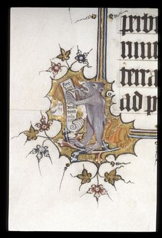 A bear scribe in the margins of the Bohun Psalter. British Library, Egerton 3277, f. 13v.