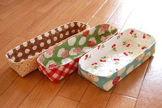 Fabric baskets for drawers. Utensils, pencils, anything!  Wonder if you can make them from paper for hot dog roll holders?