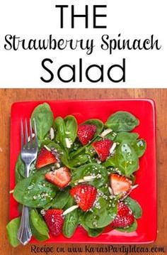 100 Delicious Strawberry Recipes From Pinterest for National Strawberry Day (February 27): THE strawberry spinach salad with poppy seed vinaigrette dressing RECIPE that everyone loves! The best salad ever! Via Karas Party Ideas https://KarasPartyIdeas.com #strawberryspinachsalad
