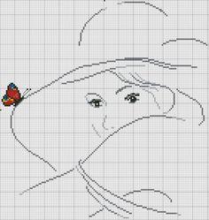 Lányok pillangók.  Keresztszemes hímzés, fekete-fehér fotó # 3 ....