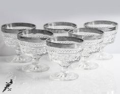 Set 6 Platinum/Silver Trim Low Sherbet Glasses by TheCordialMagpie