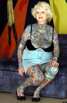 British woman Isobel Varley has 93% of her body covered in tattoos, giving her the Guinness world record for the most tattooed senior citize...