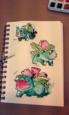 Bulbasaur, Ivysaur, and Venusaur Pokemon Sketch, Pokemon Fan Art, Cute Pokemon, Pikachu, Pokemon Bulbasaur, Bulbasaur Evolution, Fotos Do Pokemon, Pokemon Tattoo, Watercolor Artwork