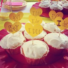 Yellow and pink Bridal shower cupcakes. I do!