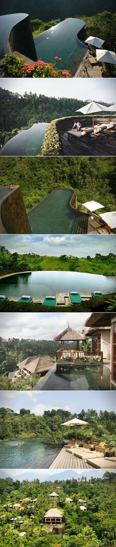 When it comes to truly breathtaking infinity pools, there are few places that rival Ubud Hanging Gardens Resort in Bali. Nestled within the forest's of Indonesia, this beautiful resort and hotel features 38 luxury private pool villas, all of which are surrounded by lush green landscape.