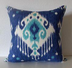 Pillow Cover  Blue  Ikat  lumbar  throw  decorative