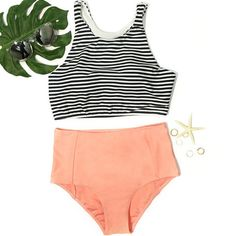 Cupshe Give the Summer a Hit Striped Top and Orange Bottom Bikini sets