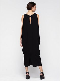 Eileen Fisher Scoop Neck Full-Length Wedge Dress in Silk Georgette Crepe