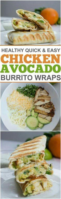 Chicken avocado burrito wraps.