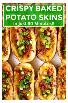 Homemade Potato Skins are one of my absolute favorite appetizer recipes! These easy baked potato skins are deliciously crispy with a garlic buttered exterior and then fully loaded with bacon, cheese and green onions! Homemade Potato Skins, Potatoe Skins Recipe, Loaded Potato Skins, Stuffed Potato Skins, Crispy Potato Skins, Stuffed Potatoes, Crispy Baked Potatoes, Twice Baked Potatoes, Cheesy Potatoes