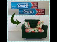 Como fazer com caixa de pasta de dente um sofa para Barbie e outras bonecas - YouTube
