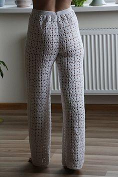 Low Waist Hand Crochet Long Pants Beach by CokettaBeachwear Crochet Pants, Knit Pants, Knit Shorts, Trouser Pants, Crochet Clothes, Cotton Crochet, Hand Crochet, Long Pants, Wide Leg Pants